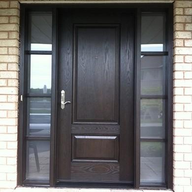 Fiberglass Door, Wood Grain Solid Exterior Door with Frosted Glass Side Lites Installed by Fiberglass Doors Toronto