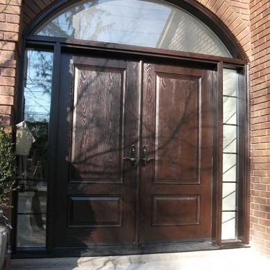 Fiberglass Door-Woodgrain Double Fiberglass Front Door with Iron Art and 2 side lites and Matching Arch Ransom Installed by Fiberglass Doors Toronto in Scarborough