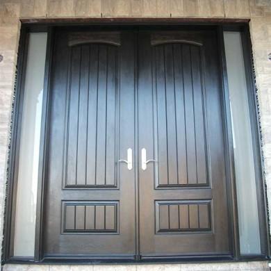 Fiberglass Door-Woodgrain Double Fiberglass Solid Door With Rustic and 2 Frosted Side Lites installed by Fiberglass Doors Toronto in Richmondhill