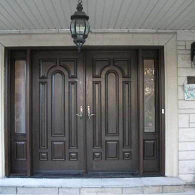 Fiberglass Door-Woodgrain Double Solid Fiberglass Door with 2 side lites and Multi Point Locks by Fiberglass Doors Toronto