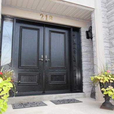 Fiberglass Door-Woodgrain Fiberglass Solid Double Front Door with 2 side Lites Installed by Fiberglass Doors Toronto in Milton Ontario