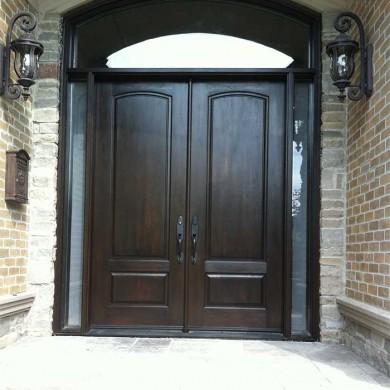 Fiberglass Door-Woodgrain Fibergllass Solid Double Front Door with 2 Side lites and Matching Arch Ransom Installed by Fiberglass Doors Toronto in Richmondhill Ontario