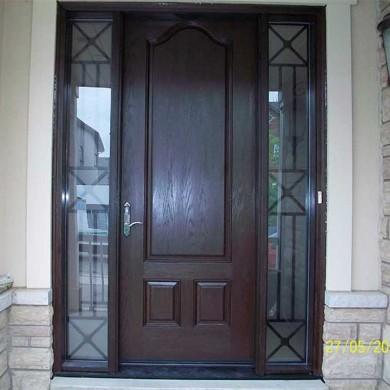 Fiberglass Door-Woodgrain Front Single Fiberglass 8 foot Door with 2 side Lites- Iron Art Design Installed by Fiberglass Doors Toronto in Newmarket