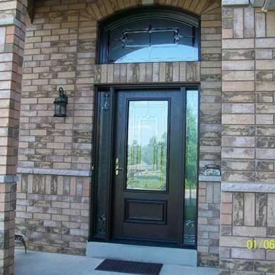 Fiberglass Door-Woodgrain Single Door Fiberglass with Stain Glass Design & Matching Arch Transom Installed by Fiberglass Doors Toronto in Aurora