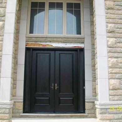 Fiberglass Door-woodgrain Double Door Fiberglass Solid Stain Spanish Oak Installled by Fiberglass Doors Toronto in Maple