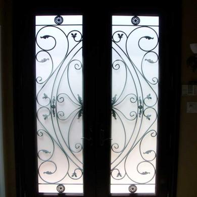 Fiberglass Door-woodgrain Double Door fiberglass 8 foot with 22 by 80 Custom Glass installed by Fiberglass Doors Toronto in Thornhill - Inside View
