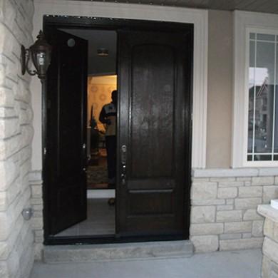 Fiberglass Doors, Wood Grain Double Exterior Doors with Multi Point Locks Installed by Fiberglass Doors Toronto