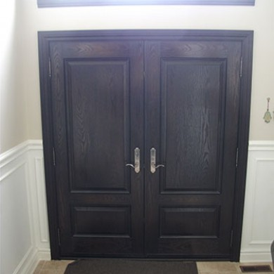 Fiberglass Doors, Wood Grain Double Exterior Doors with Transom and Multi Point Locks, Inside View Installed by Fiberglass Doors Toronto
