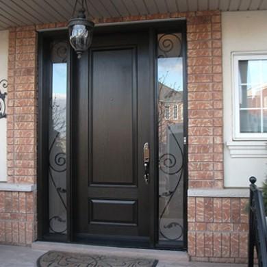 Fiberglass Doors, Wood Grain Single Exterior Door with 2 Iron Art Side Lites - Outside View Installed by Fiberglass Doors Toronto