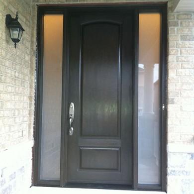 Fiberglass Doors, Wood Grain Solid Exterior Door With 2 Frosted Side Lites Installed by Fiberglass Doors Toronto
