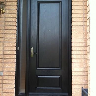 Fiberglass Doors, Wood Grain Solid Exterior Door with Side Lite Installed by Fiberglass Doors Toronto