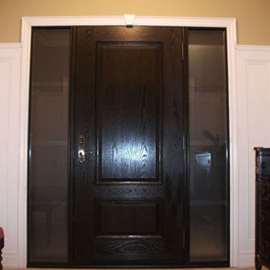Fiberglass Doors, Woodgrain Exterior Door with 2 Side Lites-Inside View Installed by Fiberglass Doors Toronto