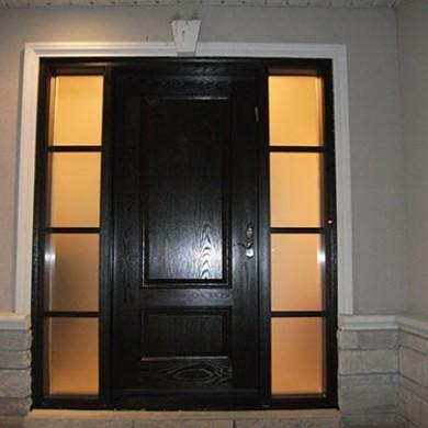 Fiberglass Doors, Woodgrain Exterior Door with 2 Side Lites Installed by Fiberglass Doors Toronto