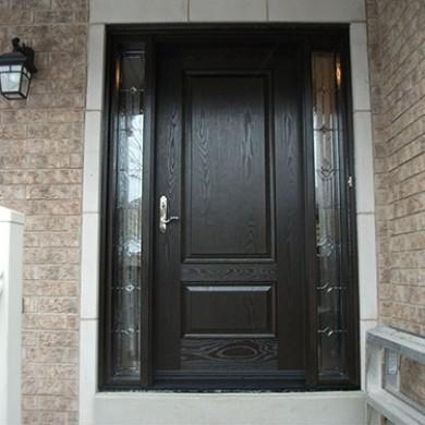 Fiberglass Doors, Woodgrain Single Exterior Door with 2 Stained Glass Side Lites Installed by Fiberglass Doors Toronto