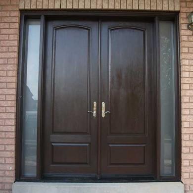 Fiberglass Doors-WoodgrainDouble Solid Fiberglass Front Door with Rustic and 2 Iron Art Side Lites Installed by Fiberglass Doors Toronto in Thornhill Ontario