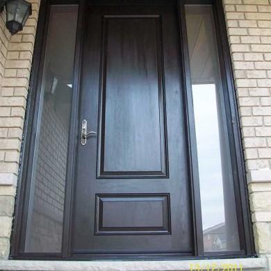 Fiberglass Executive Door with 2 Frosted side lights installed in Woodbridge by Fiberglass Doors Toronto