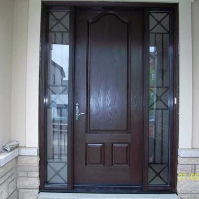 Fiberglass Executive Doors, 8-Foot-FiberglasSigle-Solid-Door-with-2-Iron-Art-Side-Lites-installed-in-Aurora-Ontario by Fiberglass Doors Toronto
