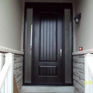 Fiberglass Executive Doors, 8-Foot-FiberglasSigle-Solid-Rustic-Door-with-2-frosted-Side-Lites-Installed-in-Newmarket-Ontario by Fiberglass Doors Toronto
