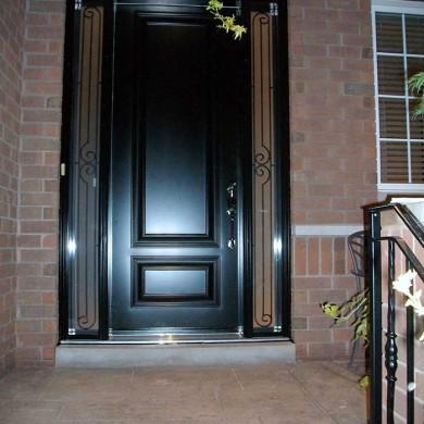 Fiberglass Executive Doors, 8-Foot-Fiberglass-Single-Solid-ront-Door-with-2-Slim-Iron-Art-Side-Lites-Installed-in-Oakville by Fiberglass Doors Toronto