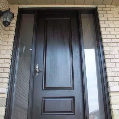 Fiberglass Executive Doors, 8-Foot-Single-Solid-Fiberglass-Front-Door-With-2-Frosted-Side-Lites-Installed-in-Bloomington by Fiberglass Doors Toronto