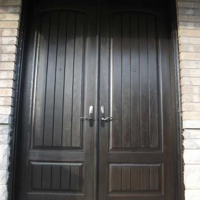 Fiberglass Executive Doors, Double Solid Fiberglass Parliament Front Door with multi Point Locks Installed in King City Ontario by Fiberglass Doors Toronto