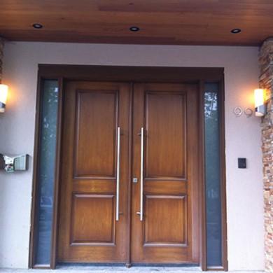 Fiberglass doors, Modern Wood Grain Double Exterior Doors with Side Lites Installed by Fiberglass Doors Toronto