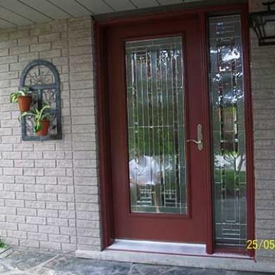 Smooth Exterior Fiberglass Door, Stained Glass Design installed by Fiberglass Doors Toronto