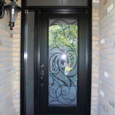 Smooth Exterior Fiberglass Door with Slim Side Lite and Transom installed by Fiberglass Doors Toronto in Scarborough