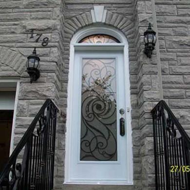 Smooth Exterior Fiberglass Door with Transom installed by Fiberglass Doors Toronto