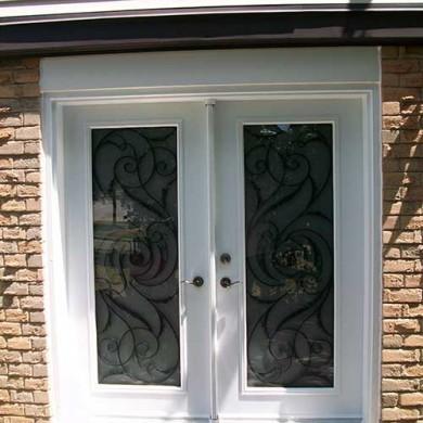 White Jullietta Smooth Exterior Fiberglass Doors with Multi Points locks installed by Fiberglass Doors Toronto