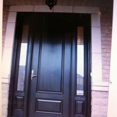 Wood Grain Fiberglass Door with 2 3-4 Side Lites Installed by Fiberglass Doors Toronto