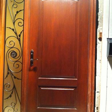 Wood Grain Fiberglass Door with Iron Art Side Lite Installed by Fiberglass Doors Toronto