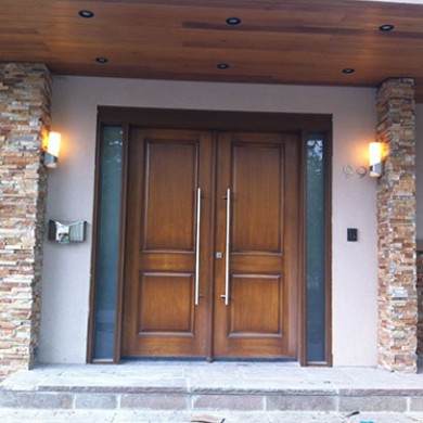 Wood Grain Fiberglass Doors with 2 Frosted Glass Side Lites Installed by Fiberglass Doors Toronto