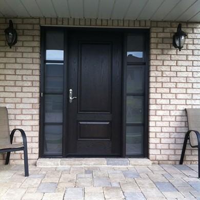 Wood Grain Solid Fiberglass Door with Frosted Glass Side Lites Installed by Fiberglass Doors Toronto