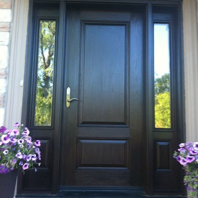 Woodgrain Fiberglass, Door with 2 Side lites installed by Fiberglass Doors Toronto
