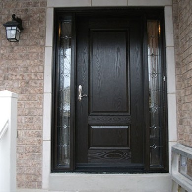 Woodgrain Fibergl Door With 2 Stained Gl Side Lites Installed By Doors Toronto