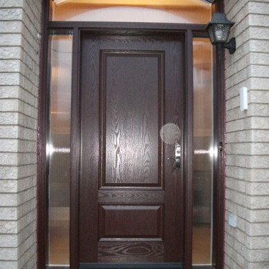 Woodgrain Fiberglass door with 2 side lites and arch transom Installed by Fiberglass Doors Toronto