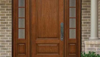 Traditional 2 panel cherry entry system-Richerson MasterGrain Premium Fiberglass Entry Doors by fiberglassdoorstoronto