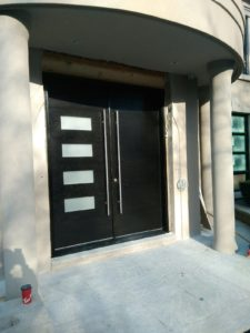 Modern Fiberglass Double Entry Door With Glass