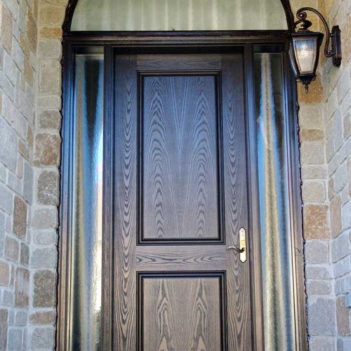 Fiberglass-Door-Fiberglass-Woodgrain-Single-Solid-Front-Door-with-2-Frosted-Side-Lites-Matching-Arch-Transom-Installed-by-Fiberglass-Doors-Toronto-in-Etobicoke-Ontario
