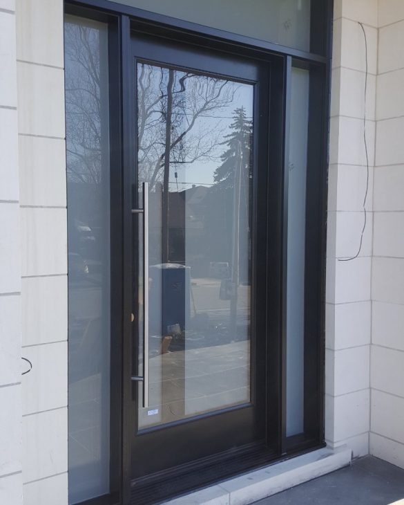 Modern Fiberglass Double Entry Door With Glass